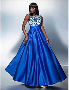 Vestido - Azul Real Festa Formal Linha-A Jóia Longo Tule/Charmeuse