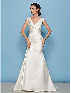 LAN TING BRIDE A-line Wedding Dress See-Through Sweep / Brush Train V-neck Satin with Criss-Cross Side-Draped