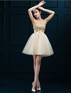 Homecoming Cocktail Party Dress - Gold A-line Sweetheart Short/Mini Tulle