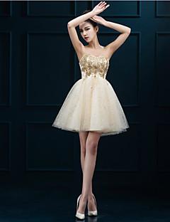 동창회 칵테일 파티 드레스 - 금 라인 아가 짧은 / 미니 얇은 명주 그물