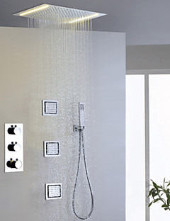 Contemporary Rain Shower Handshower Included Widespread Thermostatic LED with  Brass Valve Three Handles Five Holes for  Chrome , Shower