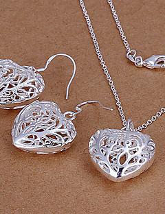Набор украшений Любовь Симпатичные Стиль бижутерия Серебрянное покрытие Серьги Цепочка Назначение Для вечеринок Свадебные подарки