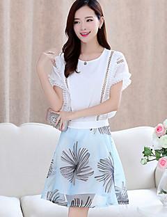 여성의 컬러 블럭 라운드 넥 짧은 소매 세트,심플 캐쥬얼/데일리 화이트 폴리에스테르 봄 얇음