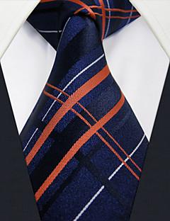 U4 Shlax&Wing Tartan Silk Mens Tie Neckties Blue Navy Checkered Silk Classic Long