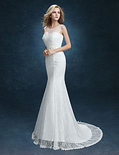 Trumpet / Mermaid Wedding Dress Sweep / Brush Train Scoop Lace with