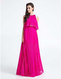 Floor-length Chiffon Bridesmaid Dress - Fuchsia Plus Sizes / Petite Sheath/Column Jewel