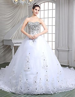 A-line Wedding Dress - Ivory Cathedral Train Sweetheart Organza