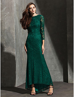 Formal Evening Dress - Dark Green Plus Sizes / Petite Trumpet/Mermaid Bateau Asymmetrical Lace