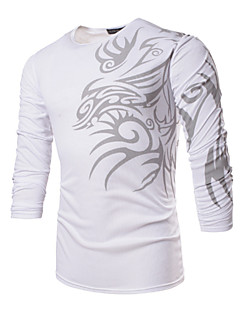 Men's Sports Formal Casual/Daily Work Plus Size Boho T-shirt,Print Long Sleeve Polyester Spandex