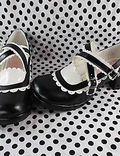 Handmade Black 6cm High Heel Sweet Lolita Shoes