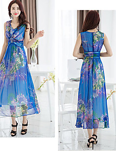 Vrouwen Sexy / Feest Grote Maten Bloemen Jurk-Midi V-hals Polyester