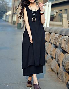 Women's Beach/Casual/Party/Work/Maxi Micro-elastic Sleeveless Maxi Dress (Linen)