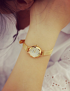 Damen Modeuhr Armband-Uhr Quartz PU Band Vintage Gold Golden