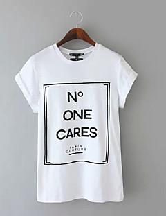 Tryck Kortärmad T-shirt Kvinnors Rund hals Bomull