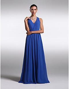 Lanting Bride® Floor-length Chiffon Bridesmaid Dress - Lace-up Sheath / Column V-neck Plus Size / Petite with