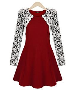 Sukienka - Obuwie damskie Przed kolano - Długi rękaw - Okrągły dekolt