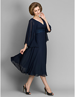 A-line Mother of the Bride Dress - Dark Navy Tea-length 3/4 Length Sleeve Chiffon