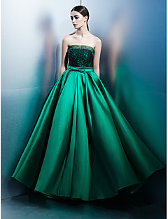 TS Couture Prom Formal Evening Dress - Elegant A-line Strapless Floor-length Lace Satin with Bow(s) Lace