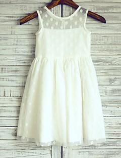 Sheath / Column Knee-length Flower Girl Dress - Satin / Tulle Sleeveless Scoop with
