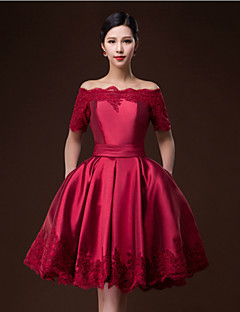 Cocktail Party Dress - Ruby/Burgundy Ball Gown Bateau Knee-length Satin