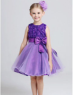 Princess Knee-length Flower Girl Dress - Cotton / Tulle Sleeveless Jewel with