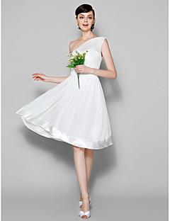 Lanting Bride® Ke kolenům Žoržet Šaty pro družičky - A-Linie Jedno rameno Větší velikosti / Malé s Šerpa / Stuha