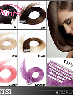 "Neitsi 20"" 50g 20pcs Tape In Human Hair Pu Skin Weft Hair Extensions Straight"