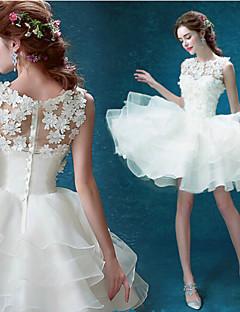 Abito da sposa - Bianco Palloncino Decorata Mini/Corto Organza