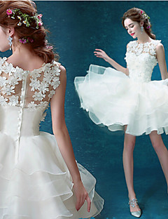 Vestido de Noiva - Branco Baile Transparente Curto/Mini Organza