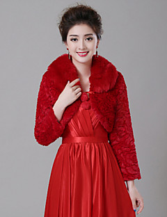 Fur Wraps / Wedding  Wraps Coats/Jackets Long Sleeve Faux Fur White / Ruby Wedding Wide collar Feathers / fur Lace-up
