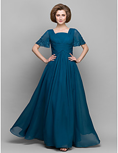 A-line Mother of the Bride Dress - Ink Blue Ankle-length Short Sleeve Chiffon