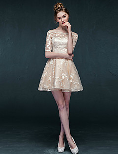 Cocktail Party Dress - Champagne A-line Bateau Short/Mini Lace