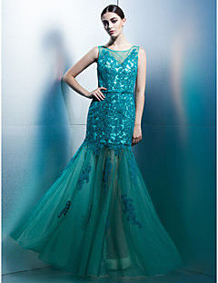 Formal Evening Dress - Jade Fit & Flare Scoop Floor-length Tulle