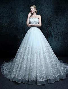 A-라인 웨딩 드레스 채플 트레인 끈없는 스타일 튤 와