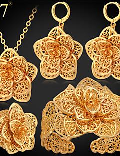Ékszerek 1 Nyaklánc 1 Pár fülbevaló 1 Karkötő 1 Gyűrű Parti Aranyozott Platina bevonat 1set Női Aranyozott Esküvői ajándékok