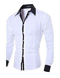 Bomull Polyester Langermet Skjorte Ensfarget Fritid/hverdag Arbeid Herre