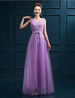 Formal Evening Dress - Ruby/Pearl Pink/Purple A-line V-neck Floor-length Tulle