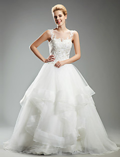 Princess Scoop Ankle-length Wedding Dress (Organza)