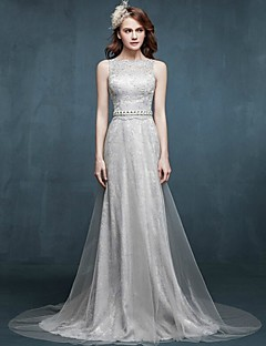 Formal Evening Dress - Dark Grey A-line Bateau Sweep/Brush Train Lace