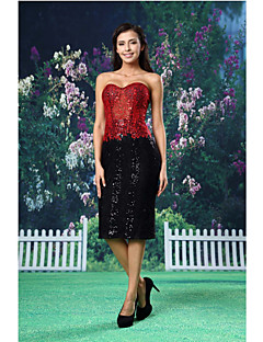 Cocktail Party Dress - Sheath/Column Sweetheart Knee-length Lace/Knit