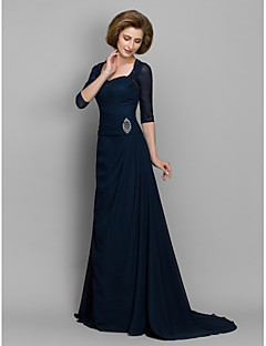 A-line Mother of the Bride Dress Sweep / Brush Train 3/4 Length Sleeve Chiffon with Beading / Ruching