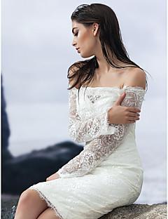 Åtsmitande Knälång Brudklänning - Elfenben (färgen kan variera beroende på datorskärm) Nedanför axeln Spets
