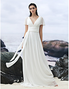 LAN TING BRIDE A-line Wedding Dress Simply Sublime Court Train V-neck Georgette with Appliques Beading Sash / Ribbon