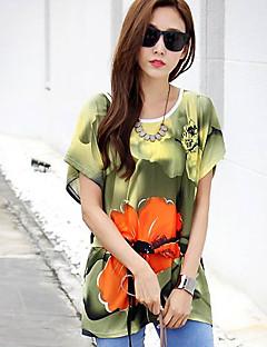 여성의 프린트 라운드 넥 짧은 소매 블라우스,심플 캐쥬얼/데일리 멀티 색상 사계절 중간