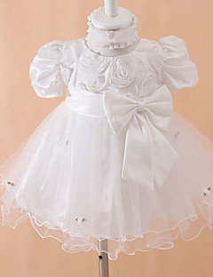 Ball Gown Tea-length Baby Flower Girl Dress - Cotton/Tulle/Polyester Short Sleeve