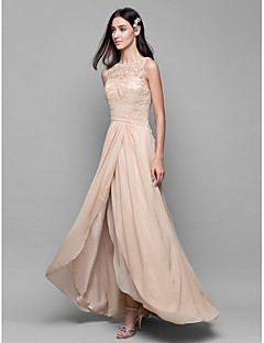 Lanting Bride® Asymmetrical Chiffon / Lace Bridesmaid Dress A-line Bateau with Lace / Criss Cross