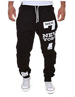 Men's Sweatpants , Casual Print Cotton Blend Pants