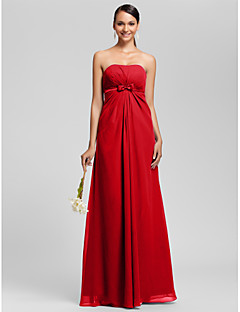 Floor-length Chiffon Bridesmaid Dress Sheath / Column Strapless Plus Size / Petite with Bow(s) / Draping / Sash / Ribbon / Side Draping