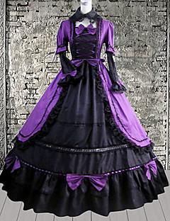 dolce signora maniche al ginocchio vestito dolce lolita cotone nero e rosso