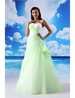 A-line Formal Evening Dress - Sage Floor-length Sweetheart Lace / Organza / Satin